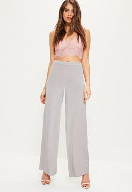 Silver Slinky Wide Leg Trousers