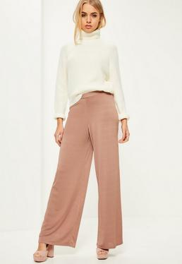 Pink Slinky Wide Leg Trousers
