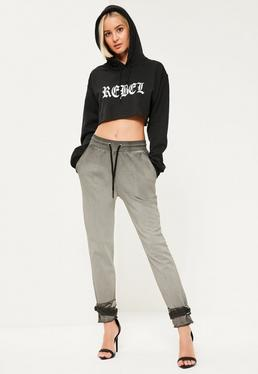 Grey Washed Tie Ankle Joggers