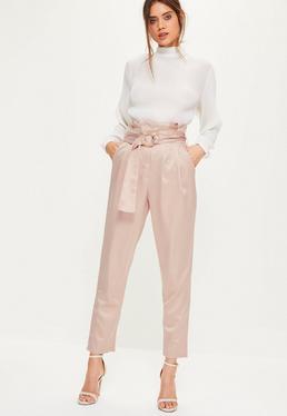 Pantalon rose taille haute plissée avec ceinture