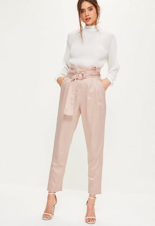 a84ad1ae80b8 Pink Super High Waisted Paperbag Belted Trousers - Missguided