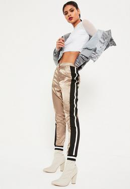 Beige Satin Side Stripe Detail Joggers