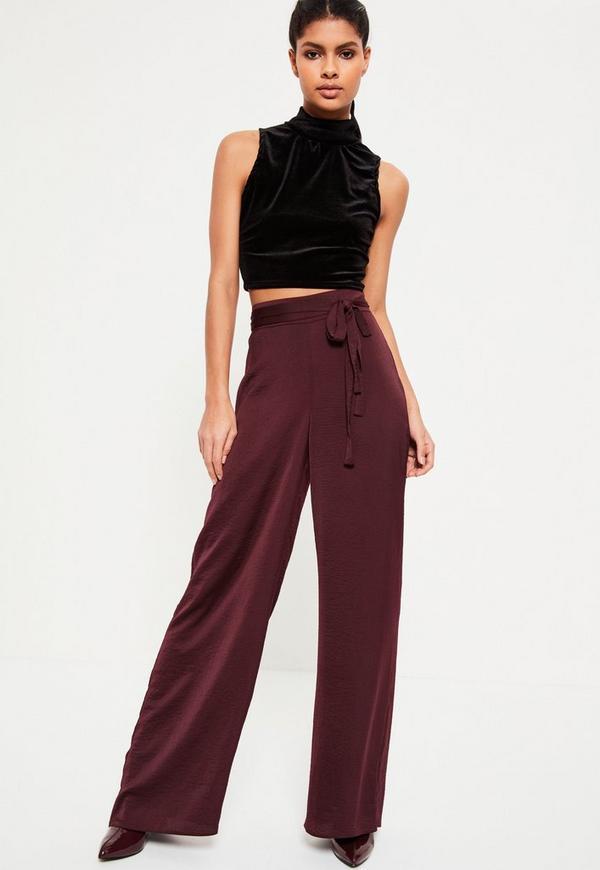 Burgundy Tie Belt Satin Wide Leg Pants Missguided