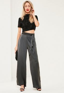 Grey Satin Tie Belt Wide Leg Trousers