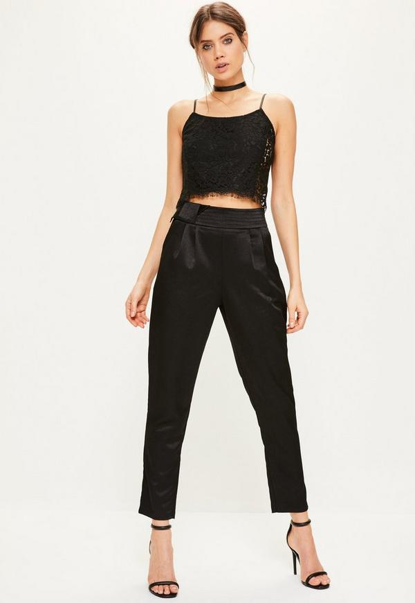 Black Satin Belt Detail Cigarette Trousers