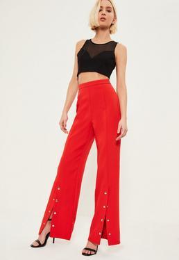 Red Popper Detail Wide Leg Pants