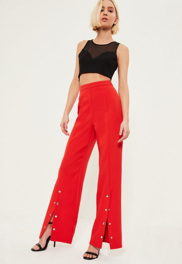 Discover wide leg and flared trousers with ASOS. From 70s style bell bottoms to tailored work trousers with ASOS. PrettyLittleThing Plus tailored wide leg trousers in red. £ Dr Denim Abel crop trouser in velvet exclusive to ASOS. £ Bec & Bridge cha cha pant. £ House of Holland contrast panelled trackpant. £