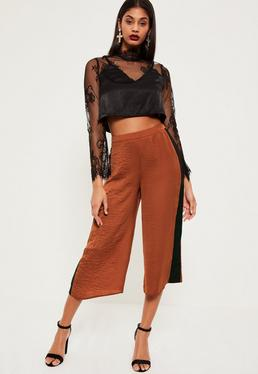 Tan Contrast Side Stripe Hammered Satin Culottes
