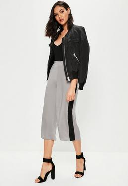 Nude Contrast Side Stripe Hammered Satin Culottes