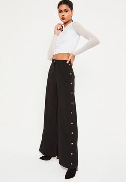 Black Wide Leg Side Popper Detail Trousers