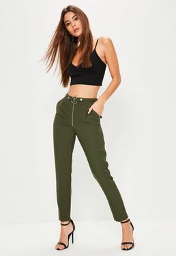Pantalon cigarette vert kaki ceinturé