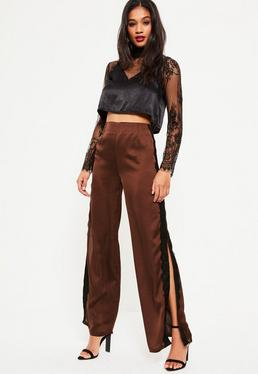 Brown Satin Side Split Lace Detail Wide Leg Pants