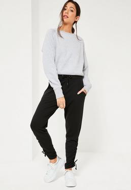 Black Lace Up Side Hem Joggers