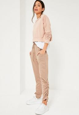 Nude Lace Up Side Hem Joggers