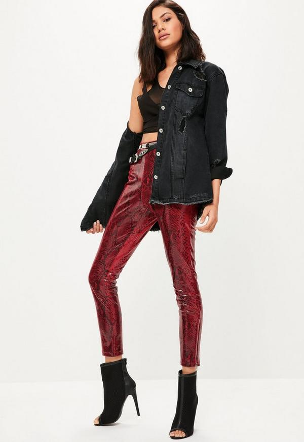 Premium Red Faux Leather Snake Leggings