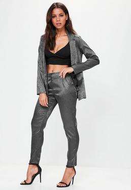 Grey Leopard Pattern Cigarette Trousers