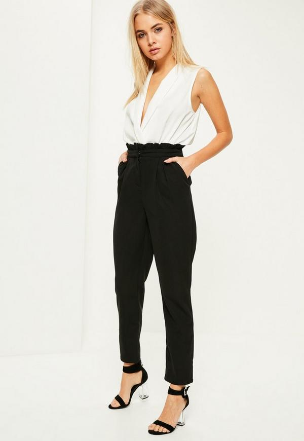 Black Paperbag Waist Cigarette Trousers