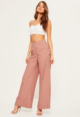 Pink Popper Side Detail Wide Leg Trousers