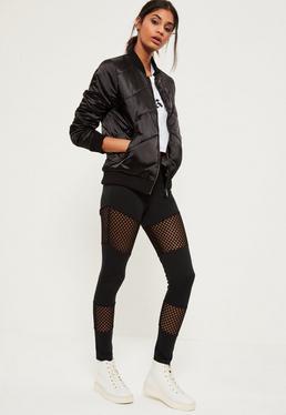 Black Fishnet Insert Full Length Leggings