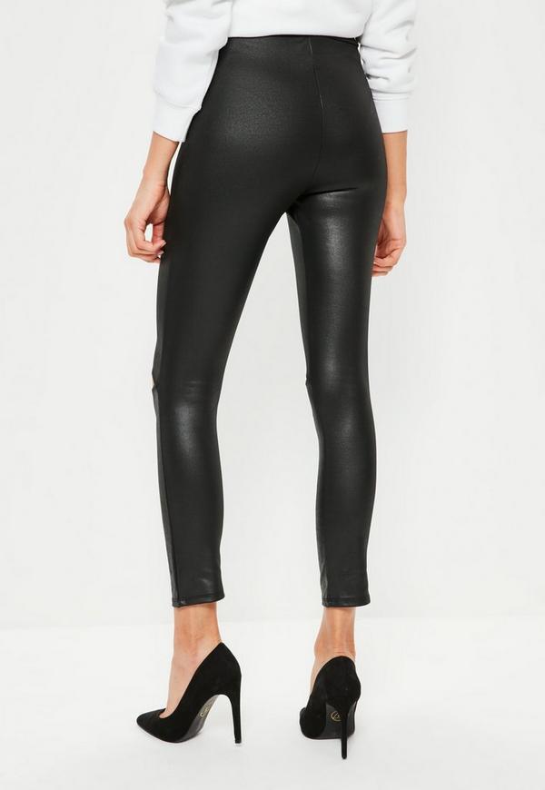 Black High Waisted Split Detail Wet Look Leggings | Missguided