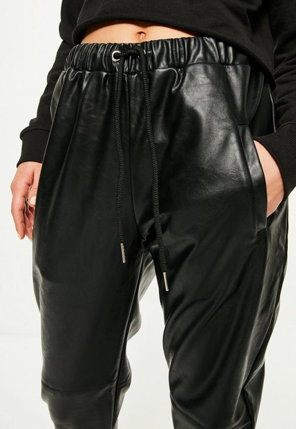 Black Faux Leather Joggers Missguided