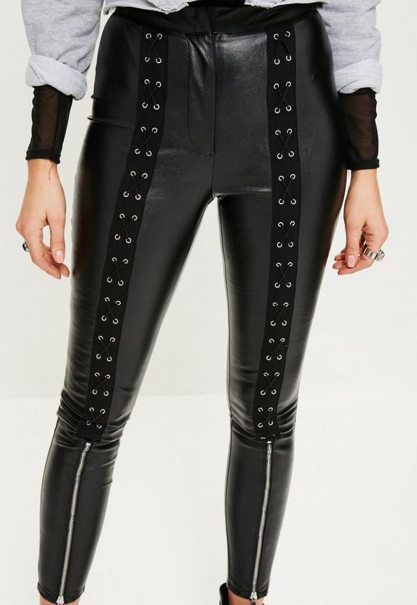 Black Lace Up Zip Detail Faux Leather Leggings