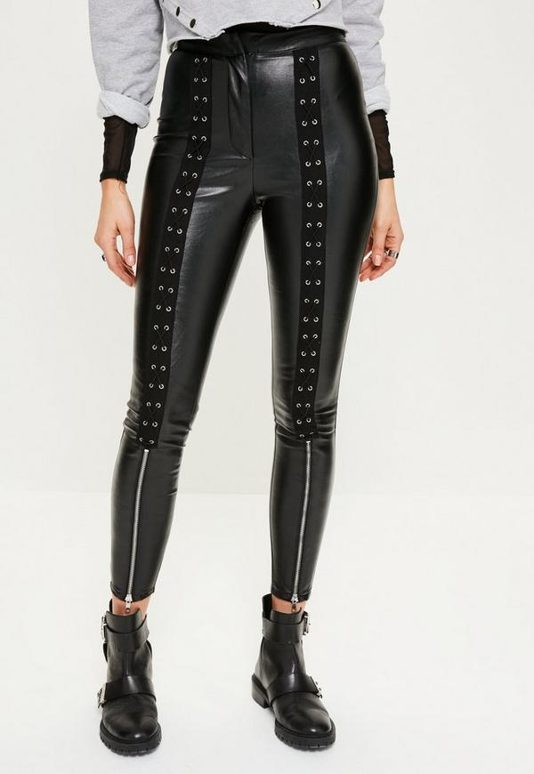 Black Lace Up Zip Detail Faux Leather Leggings | Missguided