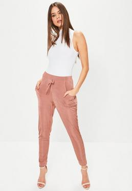 Pink Slinky Cuffed Casual Joggers