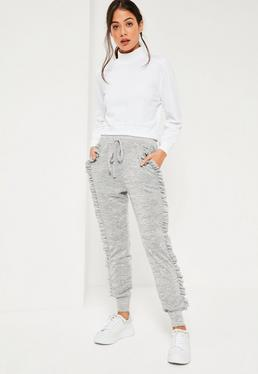 Grey Ruffle Full Length Casual Joggers