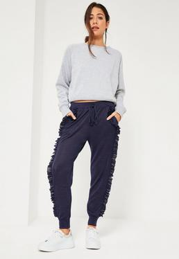 Blue Ruffle Full Length Casual Joggers