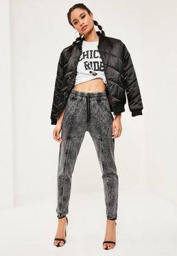 Grey Washed Zip Front Detail Casual Joggers