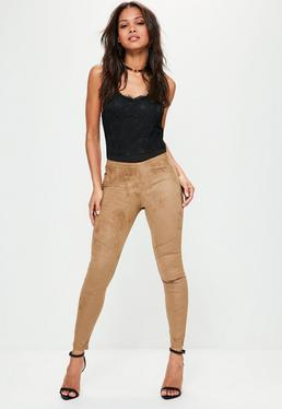 Nude Faux Suede Panel Detail Leggings