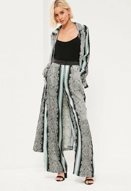 Green Paisley Printed Satin Trousers