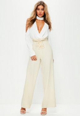 Pantalon large crème taille haute avec corset premium