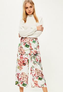 White Floral Print Satin Culottes