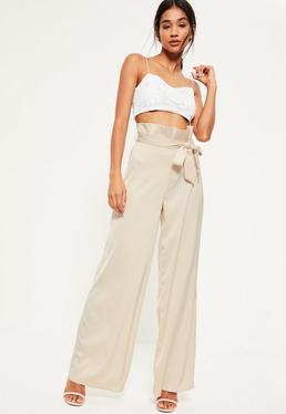 Nude Super High Waisted Paperbag Pants
