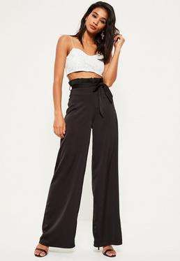 Black Super High Waist Paperbag Pants