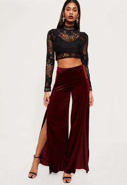 Burgundy Velvet Split Front Wide Leg Pants