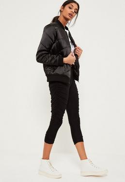 Black Ruched Side Jersey Crop Leggings