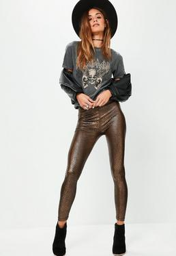 Bronze Snake Foil Printed Leggings