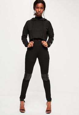 Black Faux Leather Paneled Biker Leggings
