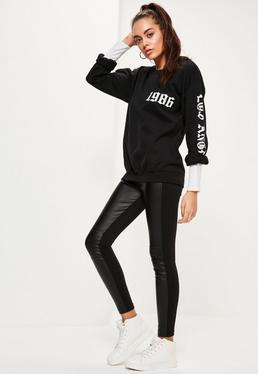 Legging biker noir en simili cuir bi matière