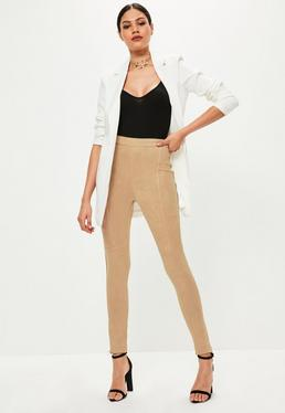 Tan Faux Suede Zip Hem Leggings