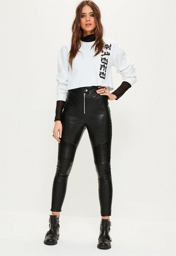 Black Biker Knee Zip Detail Faux Leather Leggings