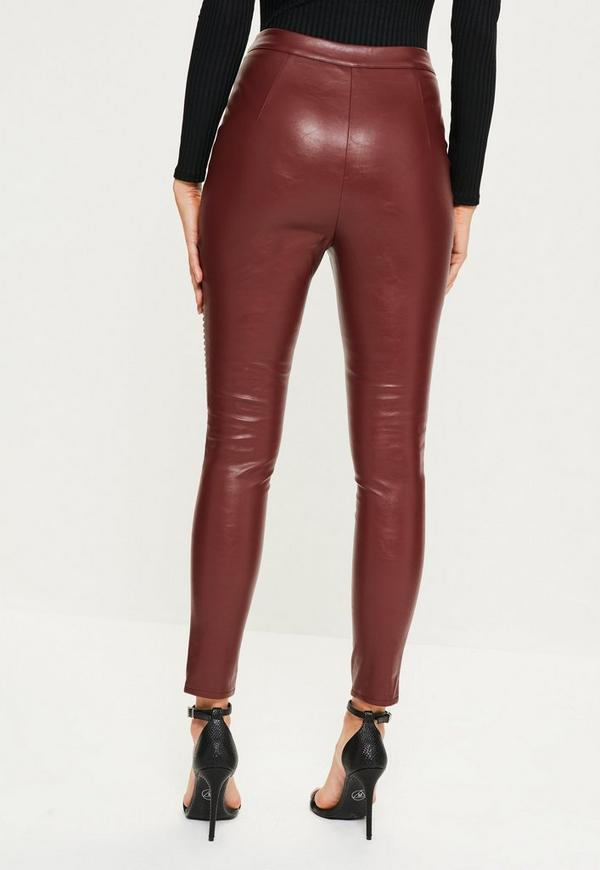 Red Biker Knee Zip Detail Faux Leather Leggings