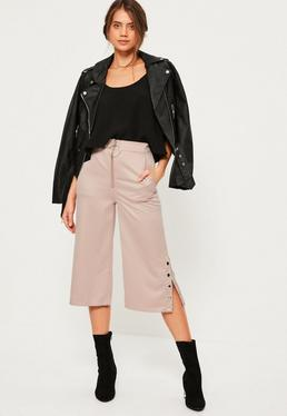 Pink Zip Front Ring Detail Popper Hem Culottes