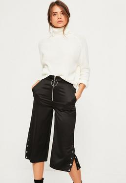 Black Zip Front Ring Detail Popper Hem Culottes