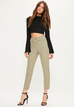 Khaki Ring Detail Waist Cigarette Trousers