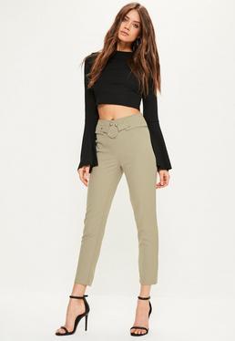 Spodnie cygaretki w kolorze khaki z ozdobnym zapięciem