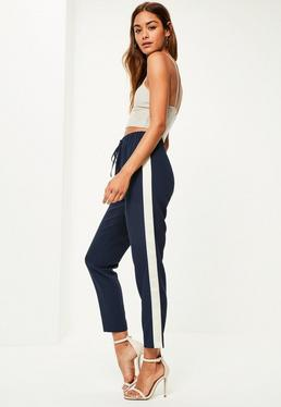 Navy Contrast Side Cuffed Joggers